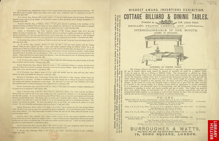 Advert For Burroughes & Watts' Billiard & Dinning Tables